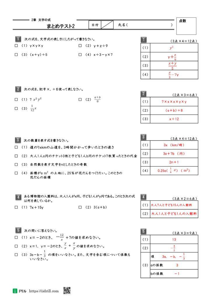 2章 文字の式 中1 数学