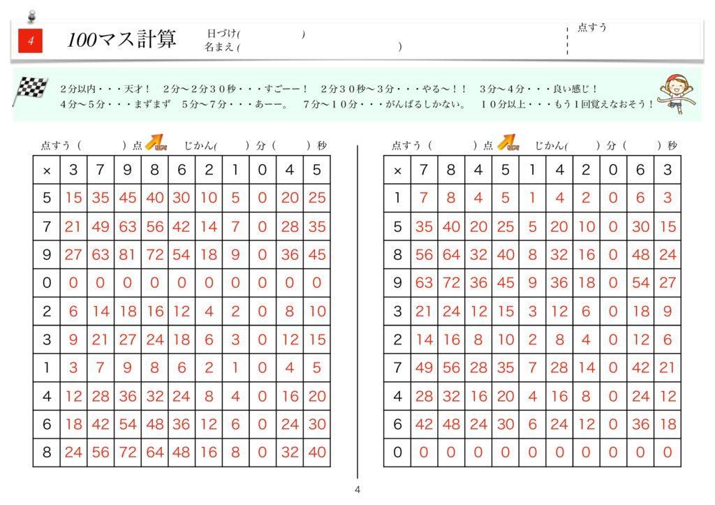 ハイパー100マス計算k-4のサムネイル