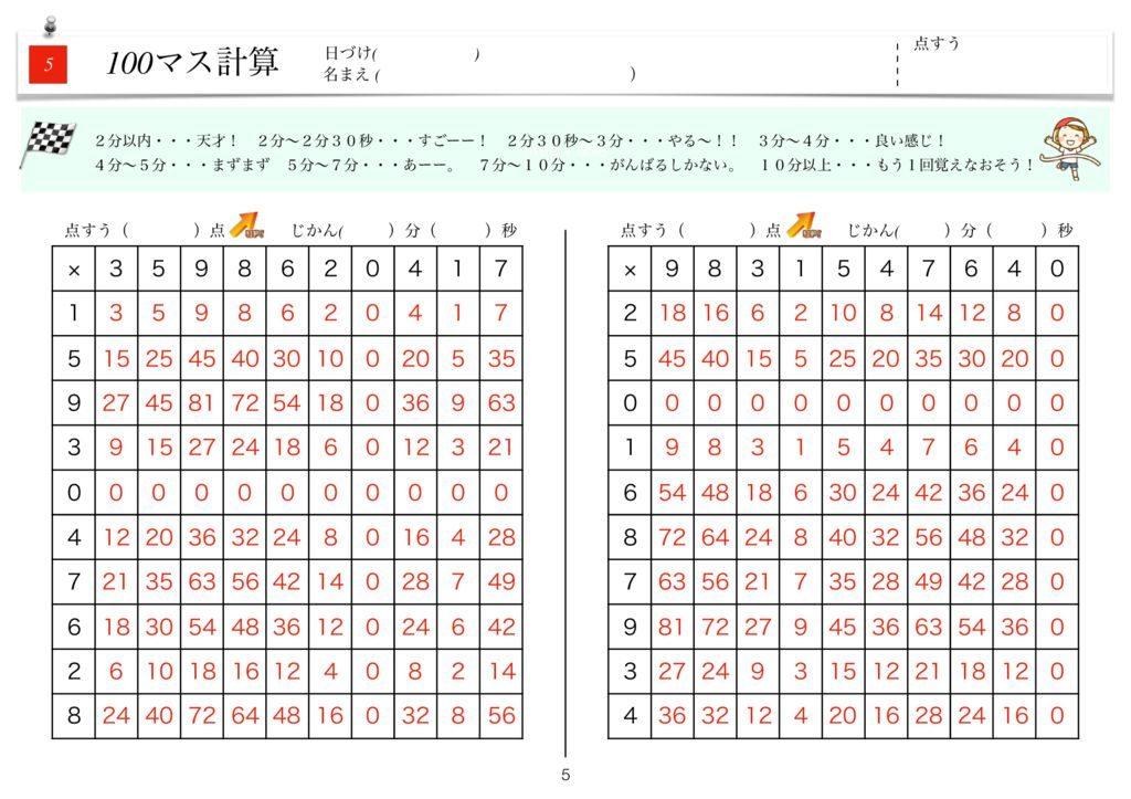ハイパー100マス計算k-5のサムネイル