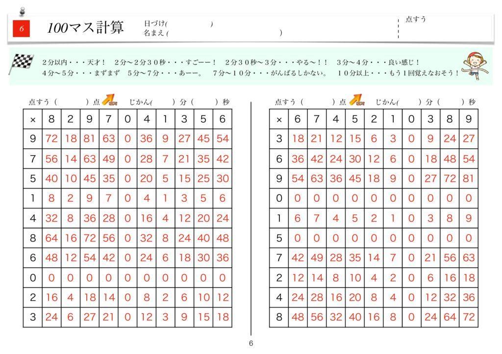 ハイパー100マス計算k-6のサムネイル