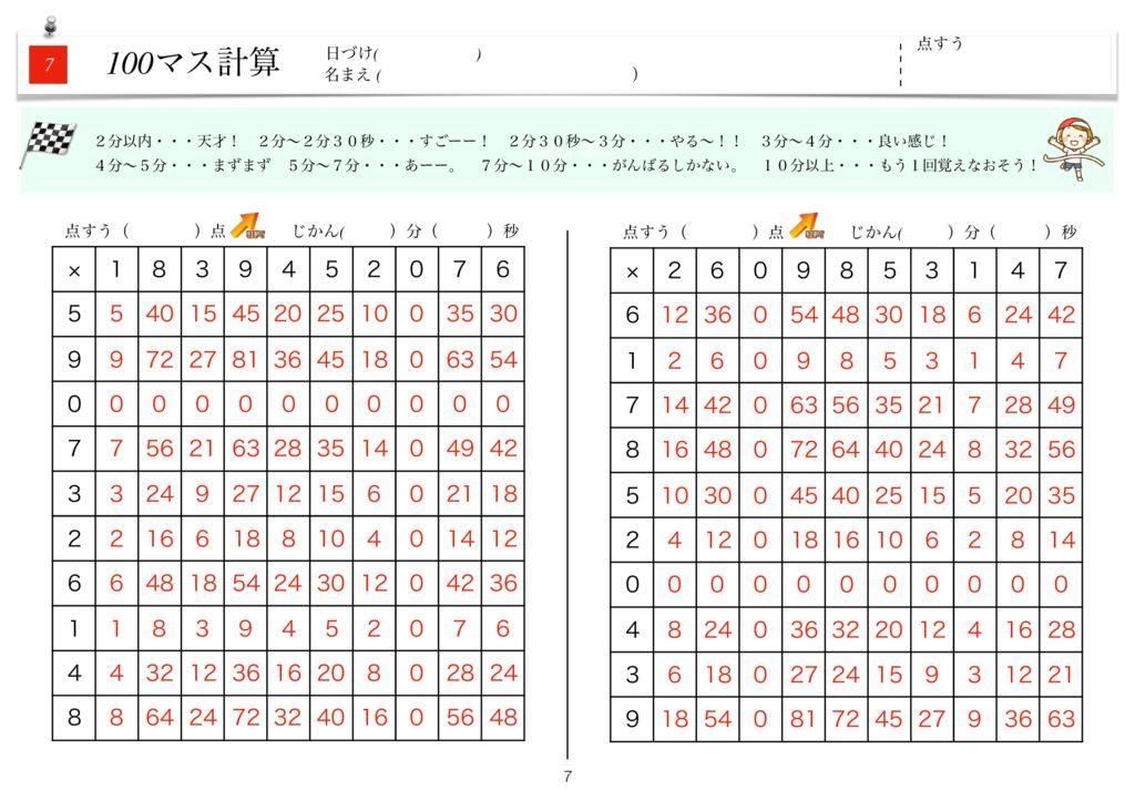 ハイパー100マス計算k-7のサムネイル