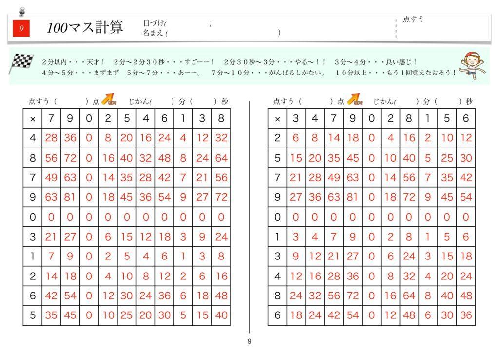 ハイパー100マス計算k-9のサムネイル