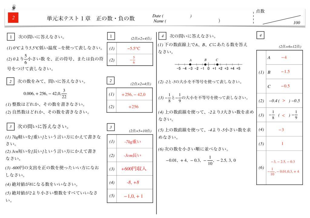 中1数学1章正の数・負の数単元末テストk-5-7のサムネイル