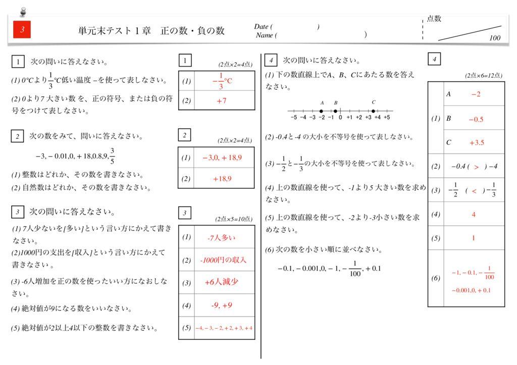 中1数学1章正の数・負の数単元末テストk-8-10のサムネイル