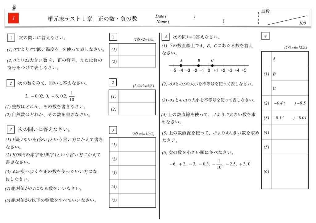 中1数学1章正の数・負の数単元末テストm-2-4のサムネイル