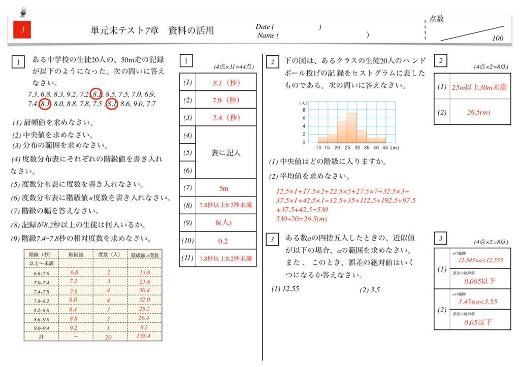 中1数学7章資料の活用単元末テストk-6-7のサムネイル