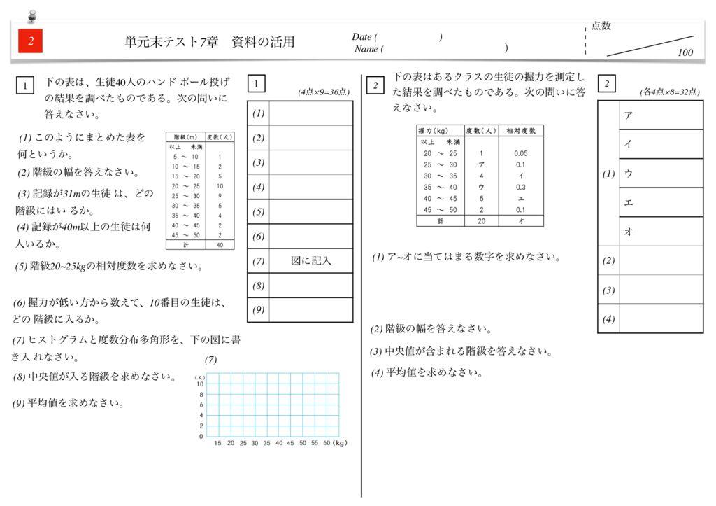 中1数学7章資料の活用単元末テストm-4-5のサムネイル