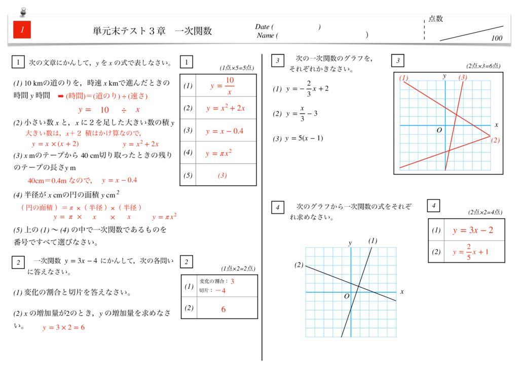 中2数学3章一次関数単元末テストk-2-5のサムネイル