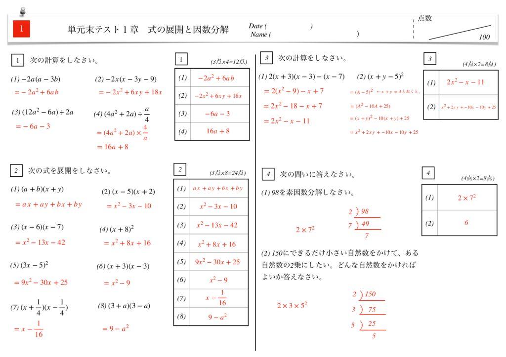 中3数学1章式の展開と因数分解単元末テストk-2-3のサムネイル