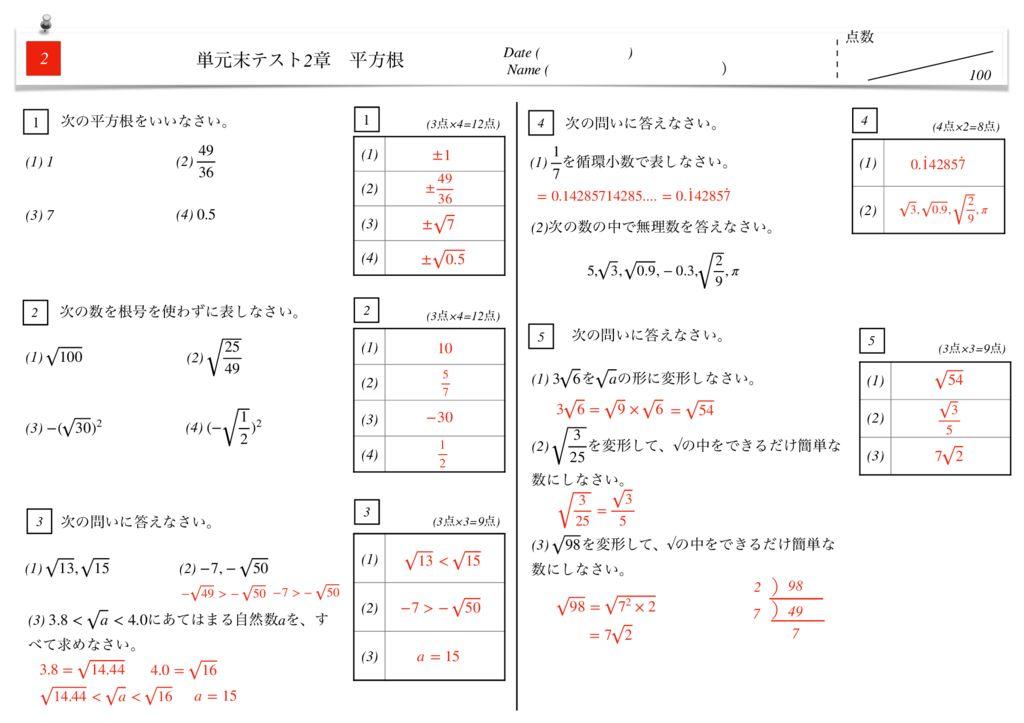 中3数学2章平方根単元末テストk-4-5のサムネイル