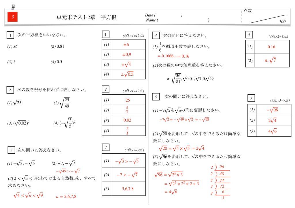 中3数学2章平方根単元末テストk-6-7のサムネイル