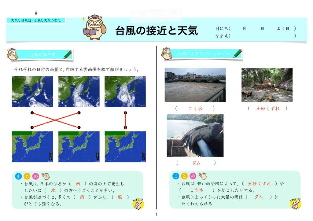 7天気と情報(2) 台風と天気の変化k-1のサムネイル
