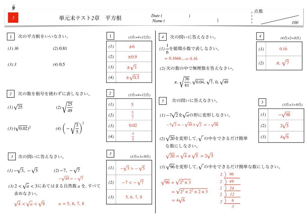 中3数学2章平方根単元末テストk3のサムネイル